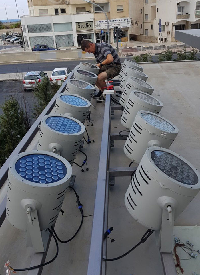 Adjusting the lights for Radisson Blu on rooftop